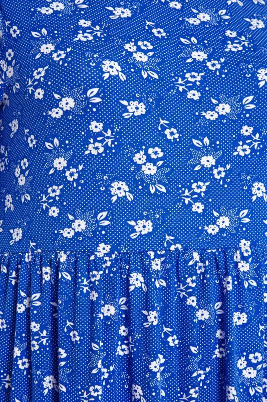 Blue Floral Puff Sleeve Midaxi Dress_S.jpg
