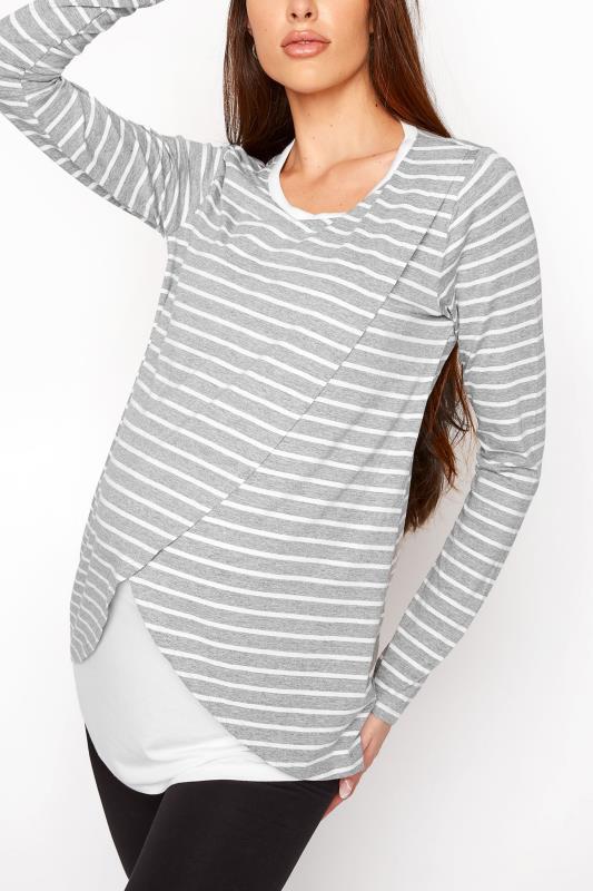 Tall  LTS Maternity Grey Stripe Long Sleeve Nursing Top