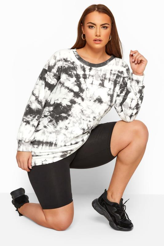 Plus Size Sweatshirts & Hoodies LIMITED COLLECTION Grey & White Tie Dye Sweatshirt