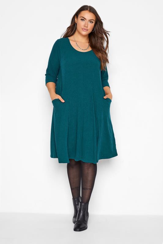 dla puszystych Teal Blue Ribbed Drape Pocket Midi Dress