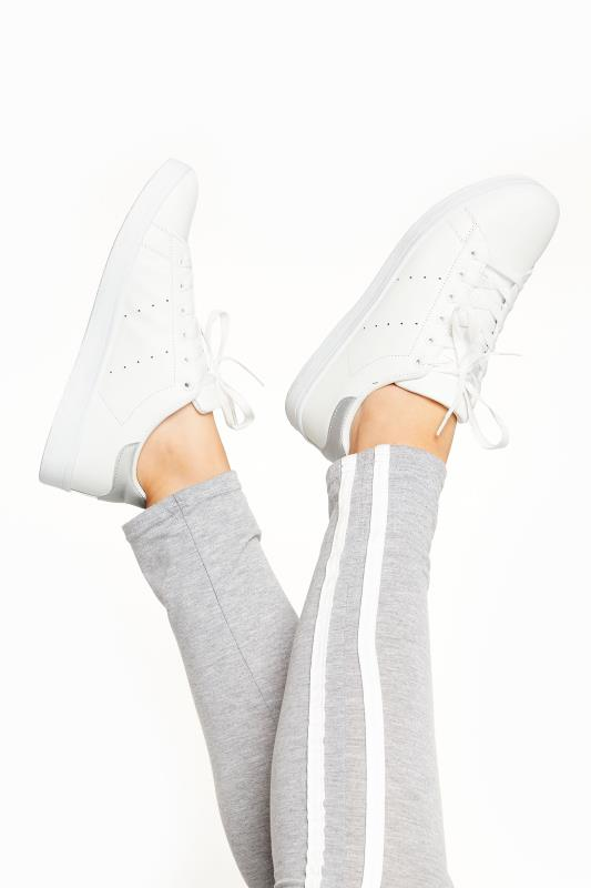 LIMITED COLLECTION White & Silver Vegan Faux Leather Trainers In Wide Fit_A.jpg