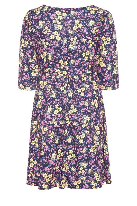 YOURS LONDON Navy Floral Wrap Midi Dress_BK.jpg