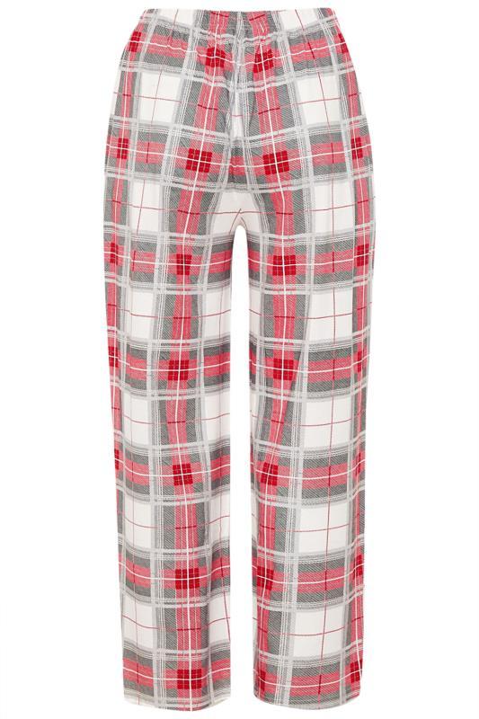 Pyjamabroek met ruiten en wijde pijpen in rood