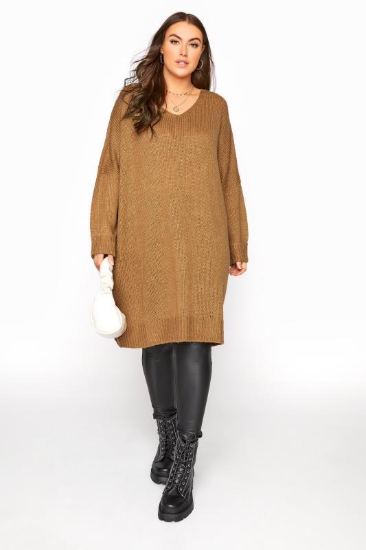 Camel Drop Sleeve Knitted Jumper Dress_B.jpg