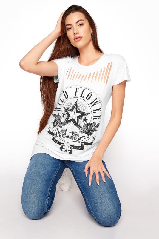 Tall  LTS White Laser Cut 'Wild Flower' T-Shirt