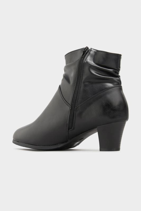Black Vegan Faux Leather Ruched Heeled Ankle Boots In Extra Wide Fit_C.jpg