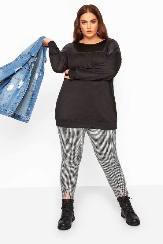 Black PU Leather Look Panel Sweatshirt