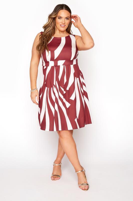 Plus Size  Red Sleeveless Stripe Skater Dress