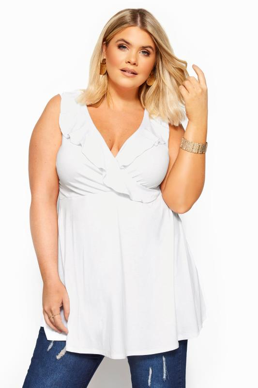 Plus Size Wrap Tops White Sleeveless Frill Wrap Top
