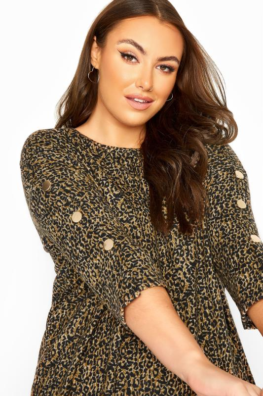 Brown Animal Print Mock Button Soft Knitted Top