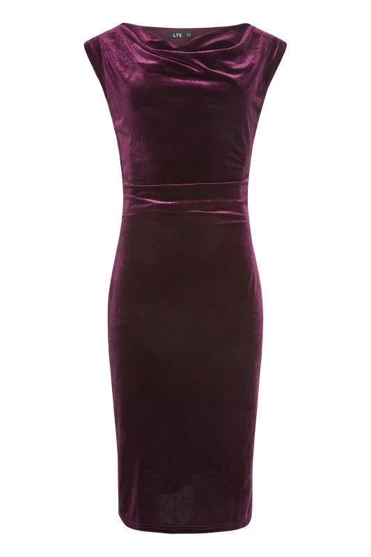 LTS Purple Cowl Neck Velvet Dress_F.jpg