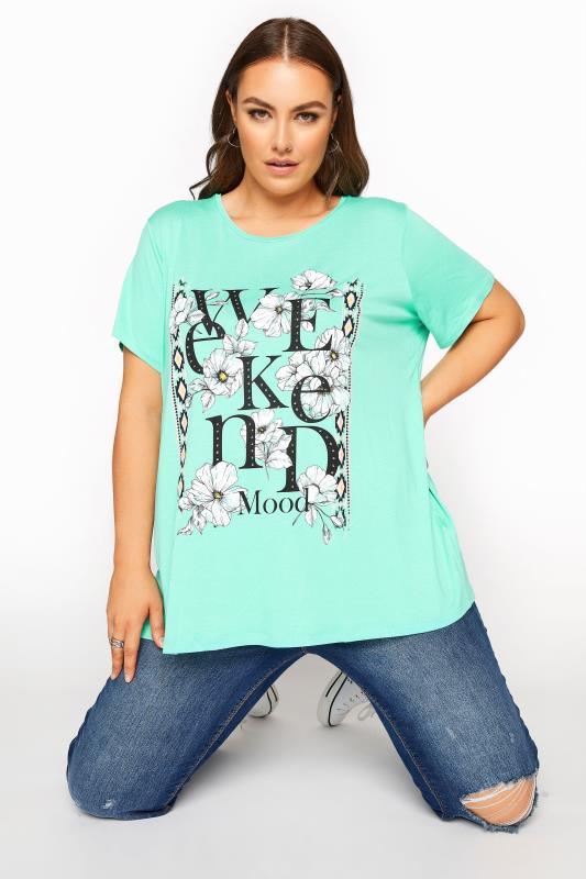 Plus Size  Green Floral 'Weekend Mood' Slogan T-Shirt