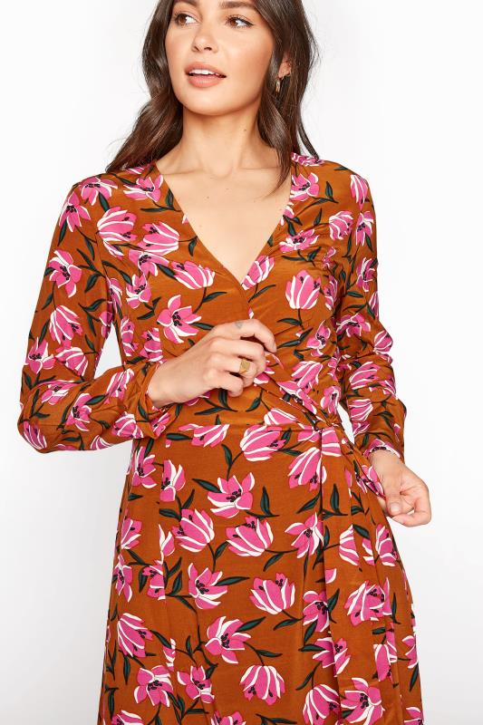 Brown Floral Print Wrap Midi Dress_D.jpg