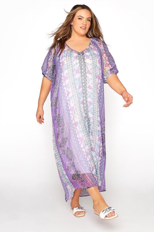 Plus Size  LIMITED COLLECTION Purple Paisley Print Dress