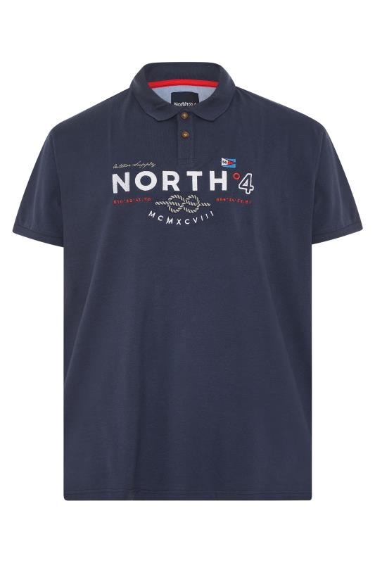Men's  NORTH 56°4 Navy Embroidered Logo Polo Shirt