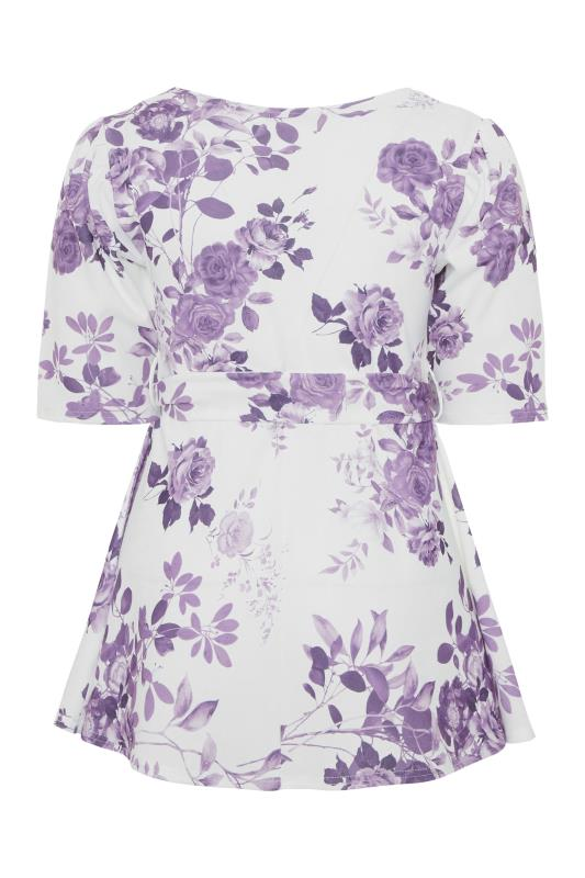 YOURS LONDON Purple Flower Square Neck Peplum Top_BK.jpg