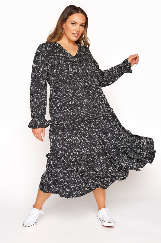 LIMITED COLLECTION Black Dalmatian Shirred Tiered Frill Midi Dress_A.jpg