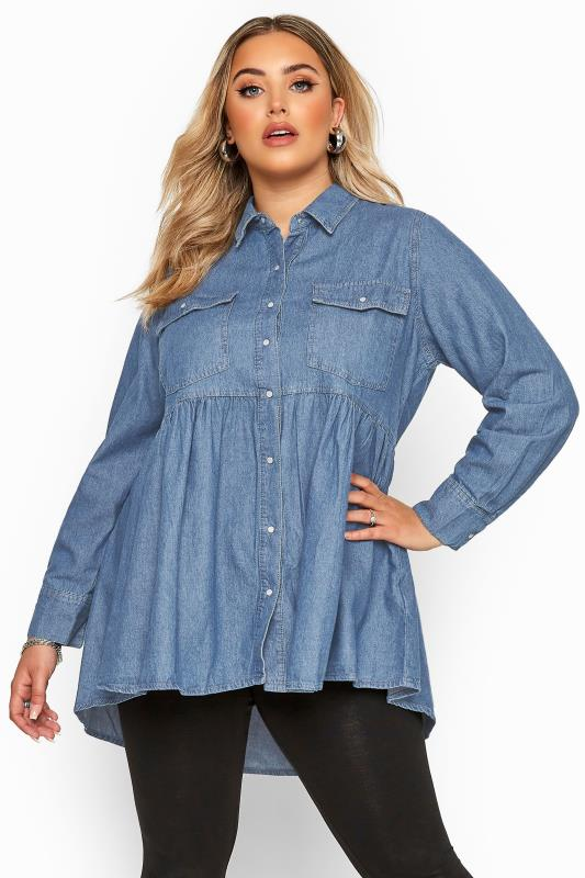 Plus Size Blouses & Shirts Blue Smock Denim Shirt
