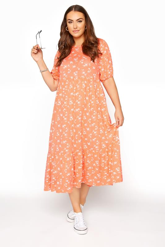 Plus Size  Orange Floral Short Sleeve Midi Dress