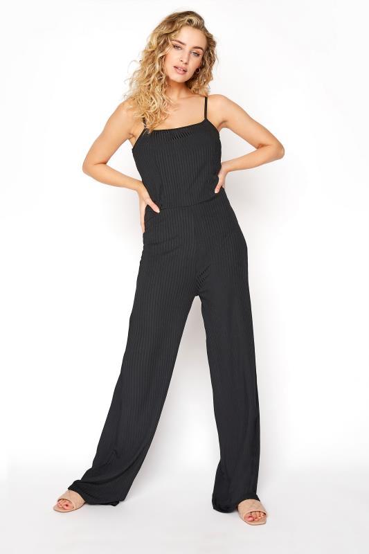 Tall  LTS Black Ribbed Wide Leg Jumpsuit
