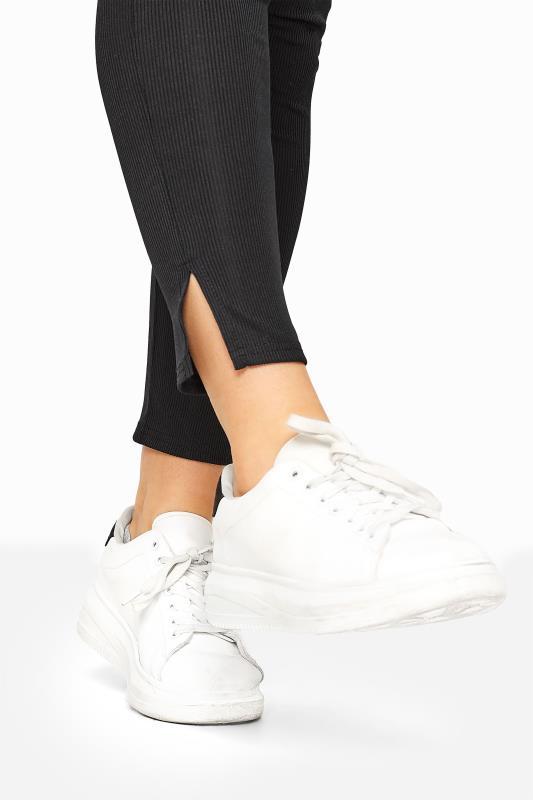 Black Ribbed Side Split Leggings