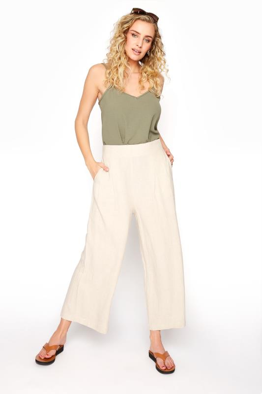 LTS Beige Linen Mix Shirred Waist Cropped Trousers