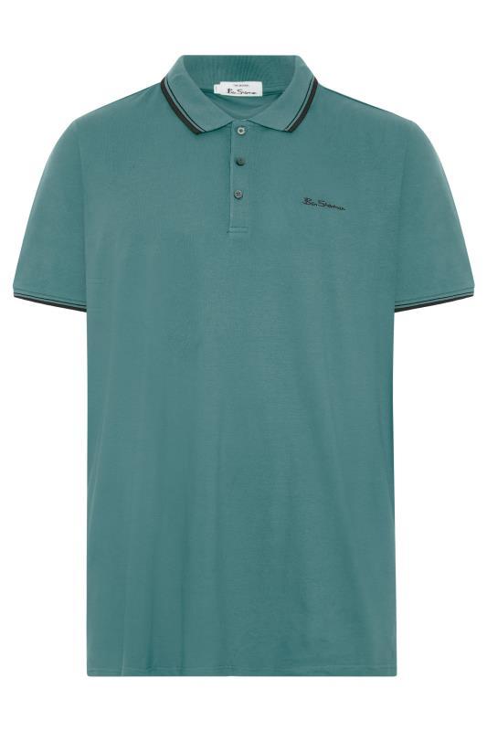 BEN SHERMAN Green Tipped Polo Shirt