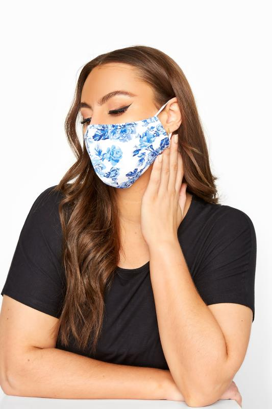 Grande Taille Blue Floral Cotton Face Mask
