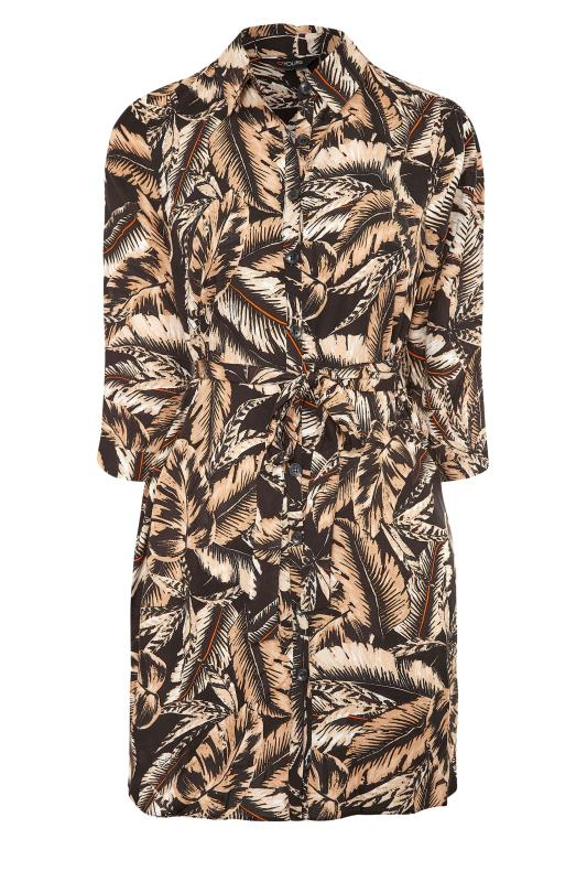 Black Leaf Print Shirt Dress_F.jpg