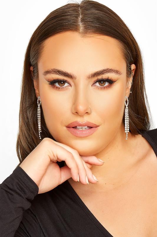 Gold Diamante Tassel Drop Earrings