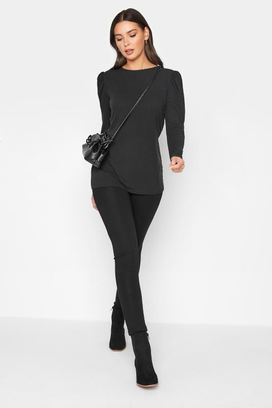 LTS Black Ribbed Puff Sleeve Top_B.jpg