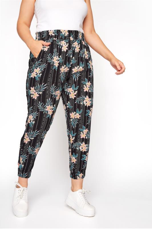 Multi Floral Crinkle Harem Trousers