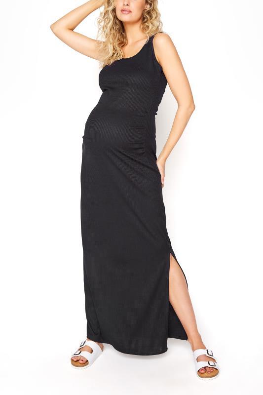 Tall  LTS Maternity Black Ribbed Tube Maxi Dress