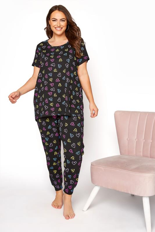 Black Sketch Heart Pyjama Bottoms_B.jpg