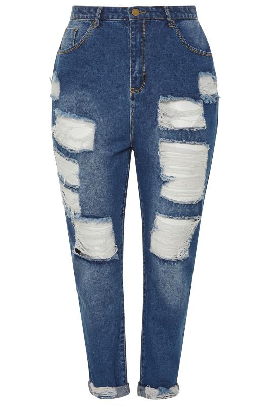 Mid Blue Extreme Ripped Mom Jeans