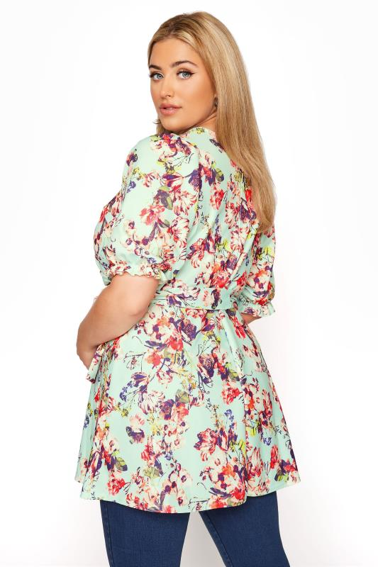 YOURS LONDON Sage Green Floral Puff Sleeve Wrap Top_C.jpg