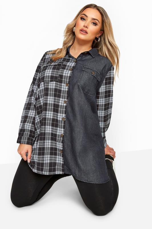 Plus Size Shirts Black Mixed Check Denim Shirt