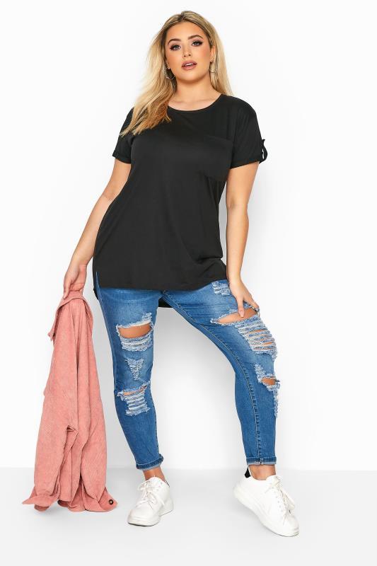Black Pocket Dipped Hem T-Shirt