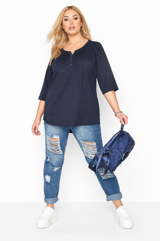 Navy Pleated Henley Top