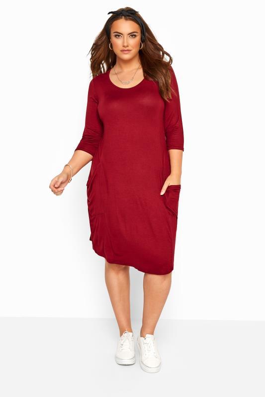 Plus Size Casual Dresses Dark Wine Drape Pocket Dress
