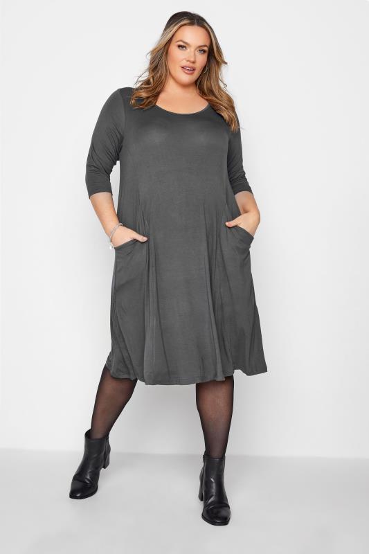 Großen Größen  Charcoal Grey Drape Pocket Midi Dress