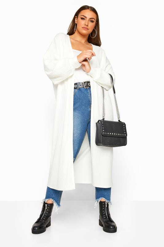 LIMITED COLLECTION White Balloon Sleeve Brushed Midi Cardigan
