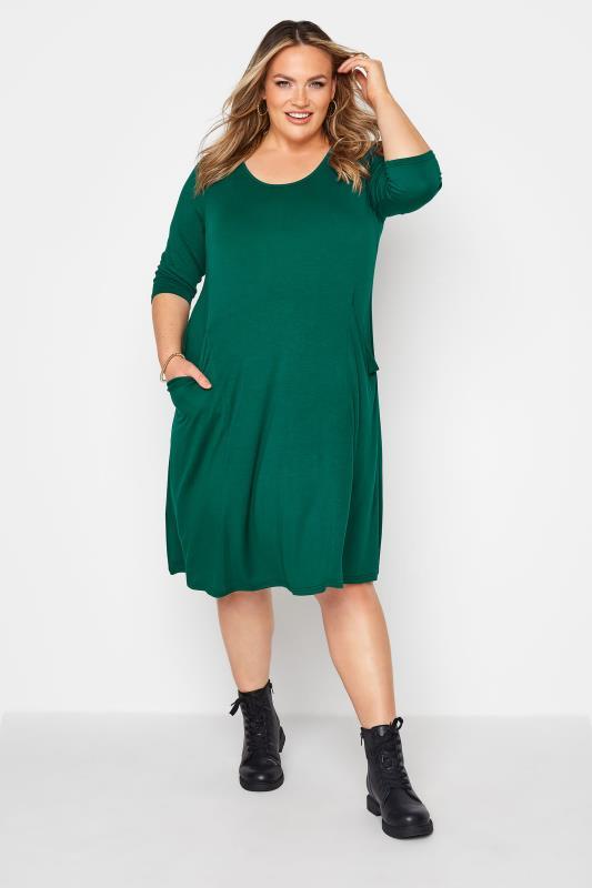 dla puszystych Forest Green Drape Pocket Dress