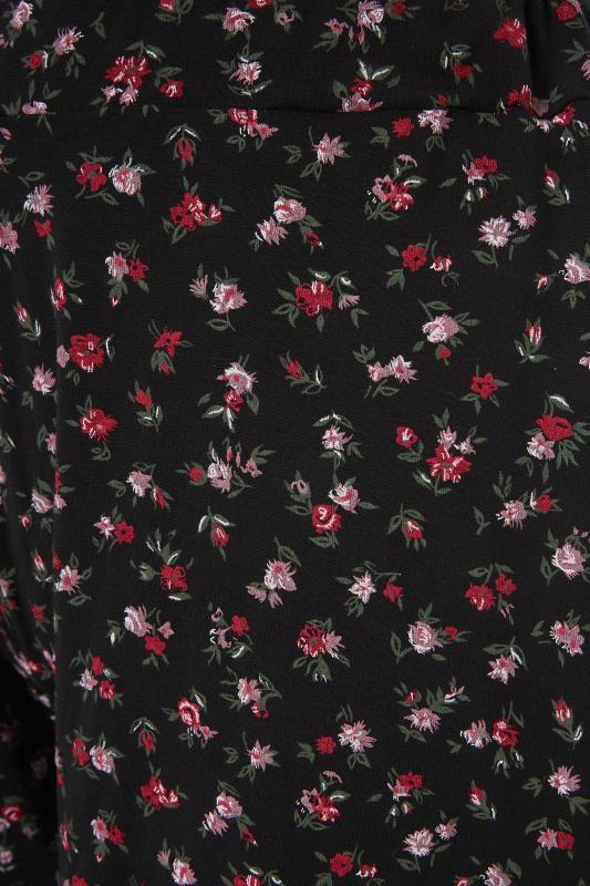 Black Floral Print Jersey Shorts_S.jpg