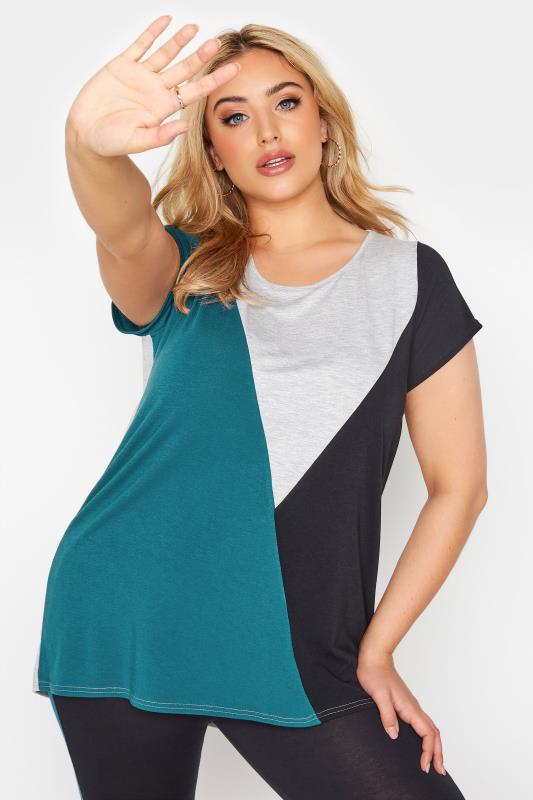 LIMITED COLLECTION Teal Colour Block T-Shirt_A.jpg