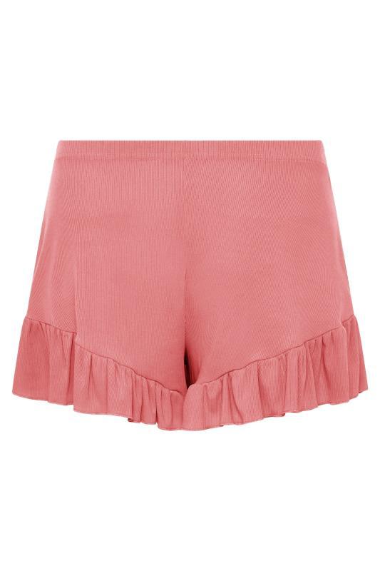 LIMITED COLLECTION Pink Frill Ribbed Pyjama Shorts_BK.jpg