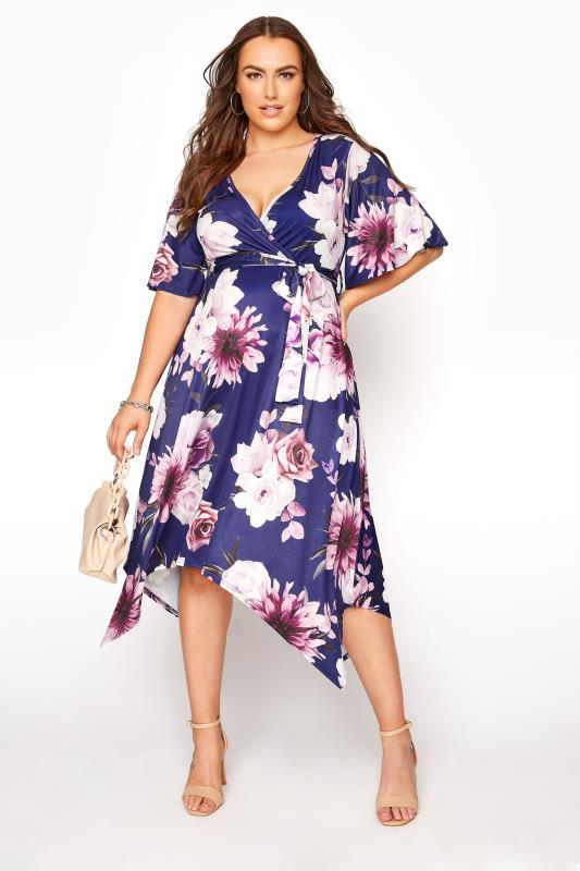 Plus Size  YOURS LONDON Navy Floral Wrap Hanky Hem Dress