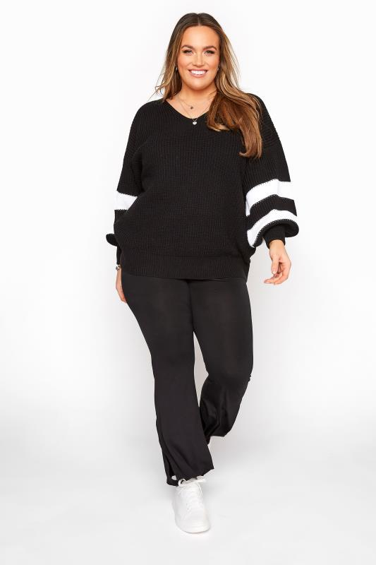 Black Varsity Stripe Knitted Jumper