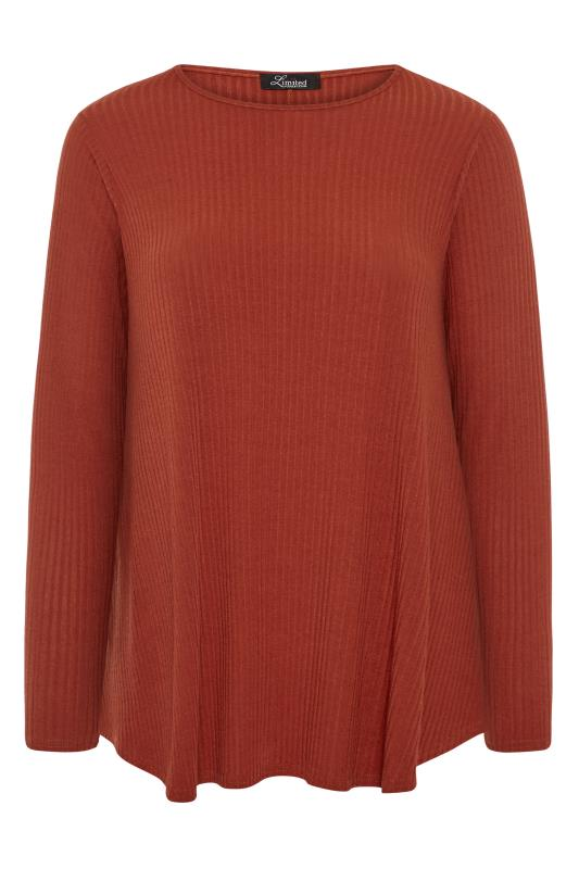 LIMITED COLLECTION Rust Orange Ribbed Long Sleeve Top