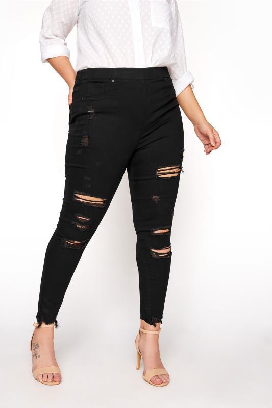 Plus Size  Black Extreme Ripped JENNY Jeggings